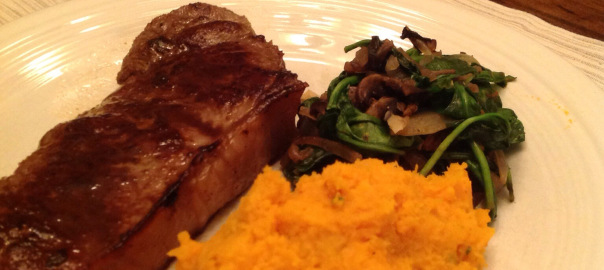 Strip Steak with Sweet Potatoes and Spinach