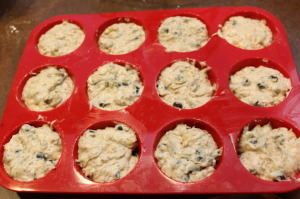 Banana Chocolate-Chip Muffins- Spoon into muffin pan